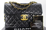 CHANEL Black Lambskin Vintage Jumbo Classic Flap Bag Gold Hw #4935444