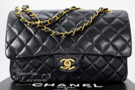 CHANEL Black Lambskin Classic Double Flap Bag Gold Hw #3954983