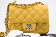 CHANEL 18S Pearly Yellow Caviar Square Mini Flap Lt Gold Hw #25xxxxxx *New
