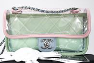 CHANEL 18S Coco Splash PVC Lambskin Flap Bag Silver Hw #25761230 *New