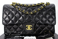 CHANEL Black Lambskin Classic Double Flap Bag Gold Hw #4877096