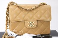 CHANEL Beige Caviar Square Mini Classic Flap Bag Gold Hw #9904934