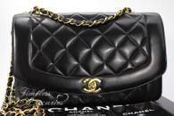 CHANEL Black Lambskin 'Vintage Chic' Diana Flap Bag Gold Hw #3065878