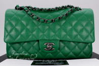 CHANEL 16C Green Caviar Classic Double Flap Bag RHW #21958727 *New