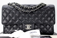 CHANEL Black Caviar Classic Double Flap Bag Silver Hw #15523398