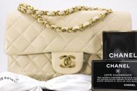 CHANEL Beige Lambskin Classic Double Flap Bag Gold Hw #3266627