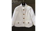 CHANEL 2018 Cruise 18C Runway Tweed Jacket Owl Buttons White 36 FR