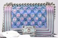 CHANEL 18S Boy Water Purple Iridescent PVC Patent Silver Hw #25xxxxxx *New*