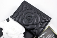 CHANEL Black Caviar Camellia Flat Card Holder Wallet #24xxxxxx *New