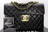 CHANEL Black Lambskin Vintage Jumbo Classic Flap Bag Gold Hw #3767618