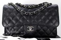 CHANEL Black Caviar Jumbo Classic Double Flap Bag Silver Hw #16706906