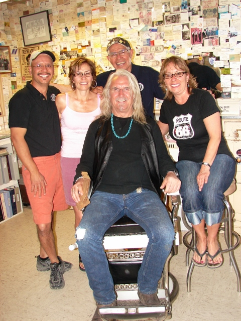 Billy Connolly with Angel Delgadillo, Clarissa Delgadillo, Mauricio Perez, and Mirna Delgadillo in Angel's Barber Shop Route 66 Seligman Arizona