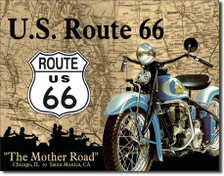 U.S. Route 66 Indian Motorcycle Mother Road Tin Sign Art