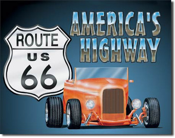 Route 66 Roadster Tin Sign art