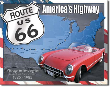 Route 66 Map Tin Sign art