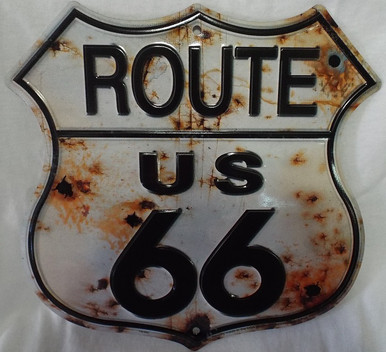 Route 66 Bullet Shield Metal Sign (Made in the USA)