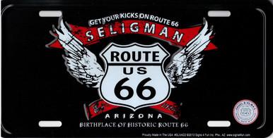 Seligman Arizona Route 66 Angel Wings License Plate