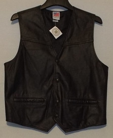 Leather Route 66 Vest -Front of Vest (Made in USA)