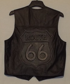 Route 66 Leather Vest -Back of Vest (Made in USA)
