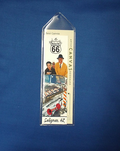 Mr. Route 66 Angel Delgadillo and Family Bookmark on Artist Canvas in Plastic Sleeve