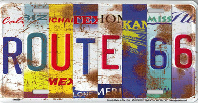 Colorful Route 66 All 8 States Collage License Plate
