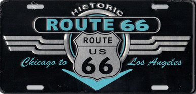 Retro Black Silver Turquoise Historic Route 66 License Plate