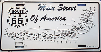 Route 66 Main Street of America License Plate