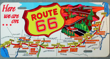 Vintage Route 66 Map License Plate