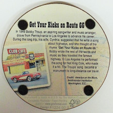 Back of Get Your Kicks on Route 66 Cork Coaster