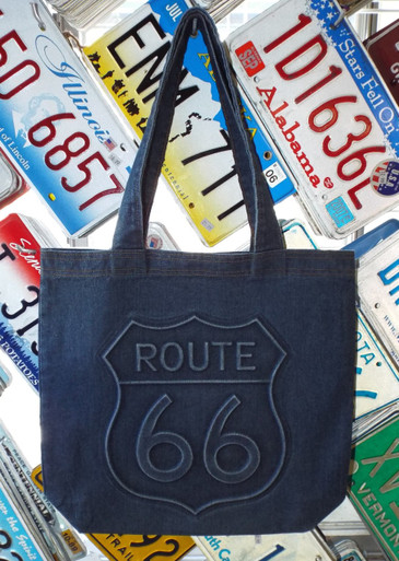 Denim Route 66 Embossed Tote Bag
