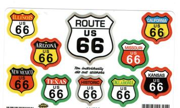 10 Route 66 Sticker Set- Multicolor