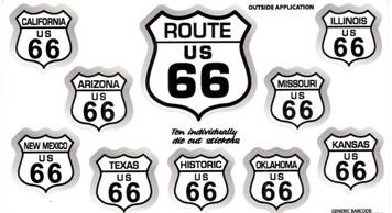 Route 66 10 sticker set