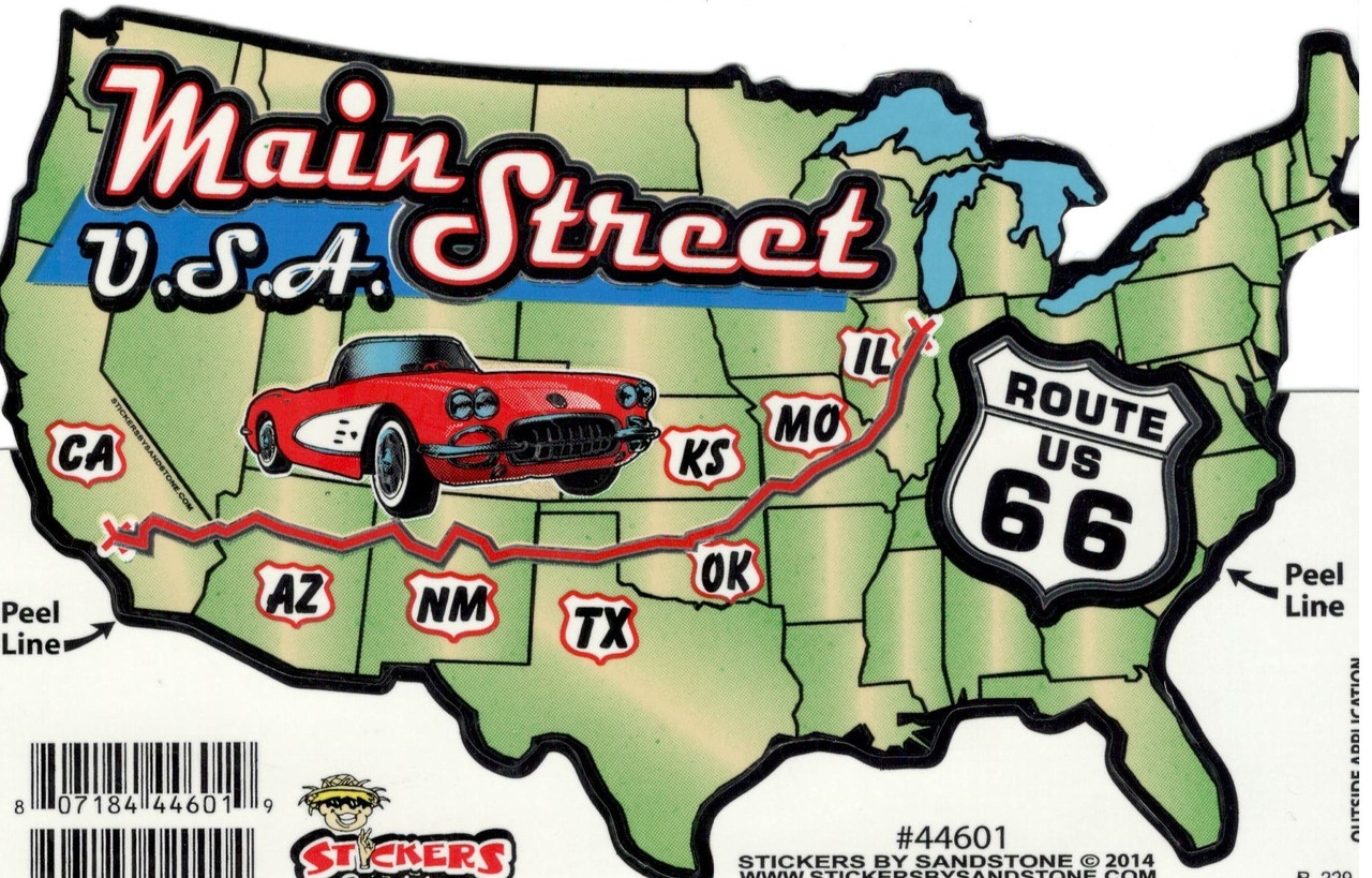 Magnets For Cars >> Route 66 USA Map Sticker - Route 66 Gift Shop