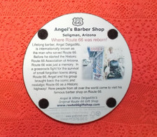 back of Angel's Barber Shop made in the USA cork coaster