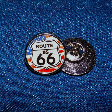 American Flag Route 66 Hat / Lapel Pin Made in the USA