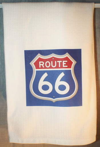 Red White & Blue Route 66 Waffle Tea Towel