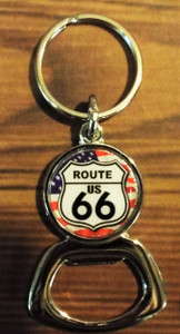 American Flag Route 66 Bottle Opener Key Chain