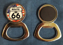 American Flag Route 66 Bottle Opener Magnet