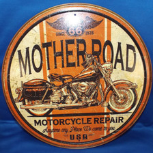 Route 66 Mother Road Round Motorcycle Repair Tin Sign Photo
