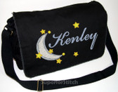 Personalized Moon and Stars Diaper Bag Font shown on diaper bag is BICKER SCRIPT