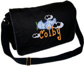 Personalized Applique Airplane Diaper Bag Font shown on diaper bag is BOYZ
