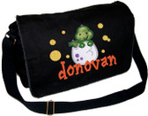 Personalized Applique Baby Dinosaur Diaper Bag Font shown on diaper bag is BEDROCK