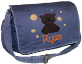 Personalized Applique Brown Bear Diaper Bag Font shown on diaper bag is APPLE BUTTER