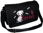 Personalized Applique Cowgirl Diaper Bag Font used for name shown on diaper bag is KINDERGARTEN