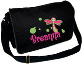 Personalized Applique Large Dragonfly Diaper Bag Font used for name shown on diaper bag is BOING