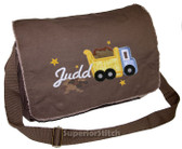 Personalized Applique Dump Truck Diaper Bag Font used for name shown on diaper bag is DRIVE IN