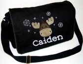 Personalized Applique Moose Head Diaper Bag Font used for name shown on diaper bag is ARGENTIA