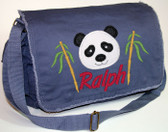 Personalized Applique Panda Head Diaper Bag Font used for name shown on diaper bag is SWEEP ITALIC
