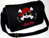 Personalized Applique Pirate Diaper Bag Font shown on diaper bag is SWEEP ITALIC