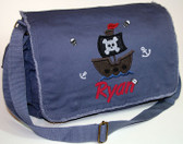 Personalized Applique Pirate Ship Diaper Bag Font shown on diaper bag is SWEEP ITALIC